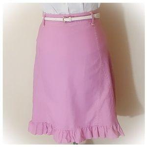 New Pink A Line Skirt Ruffle Hem